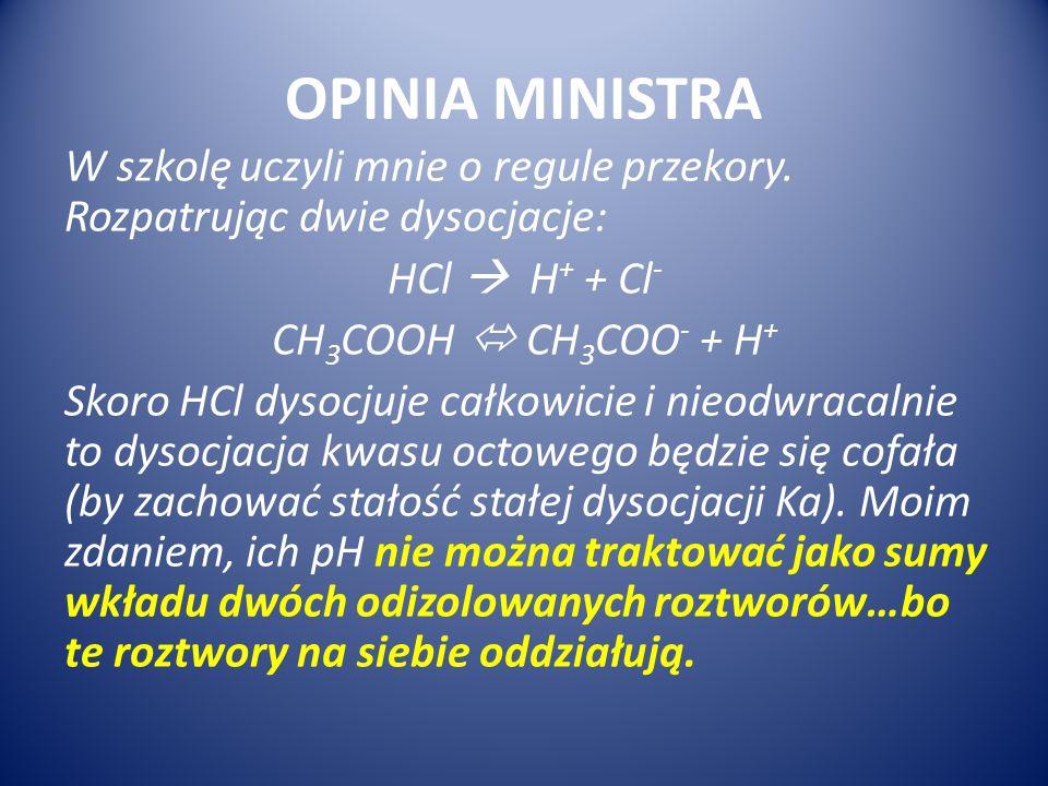 OPINIA MINISTRA W szkolę uczyli mnie o regule przekory. Rozpatrując dwie dysocjacje: HCl H + + Cl - CH 3 COOH CH 3 COO - + H + Skoro HCl dysocjuje cał