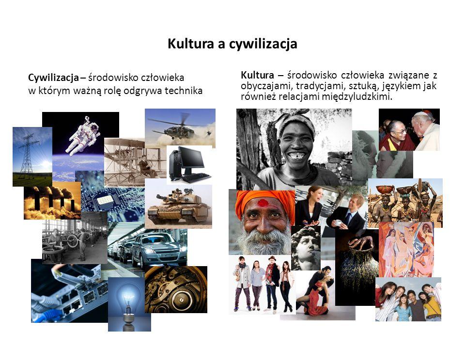 Kultura a cywilizacja Cywilizacja – środowisko człowieka w którym ważną rolę odgrywa technika Kultura – środowisko człowieka związane z obyczajami, tr