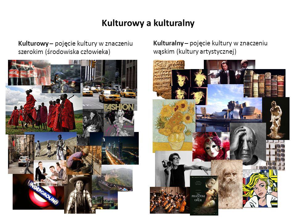 Kulturowy a kulturalny Kulturowy – pojęcie kultury w znaczeniu szerokim (środowiska człowieka) Kulturalny – pojęcie kultury w znaczeniu wąskim (kultur