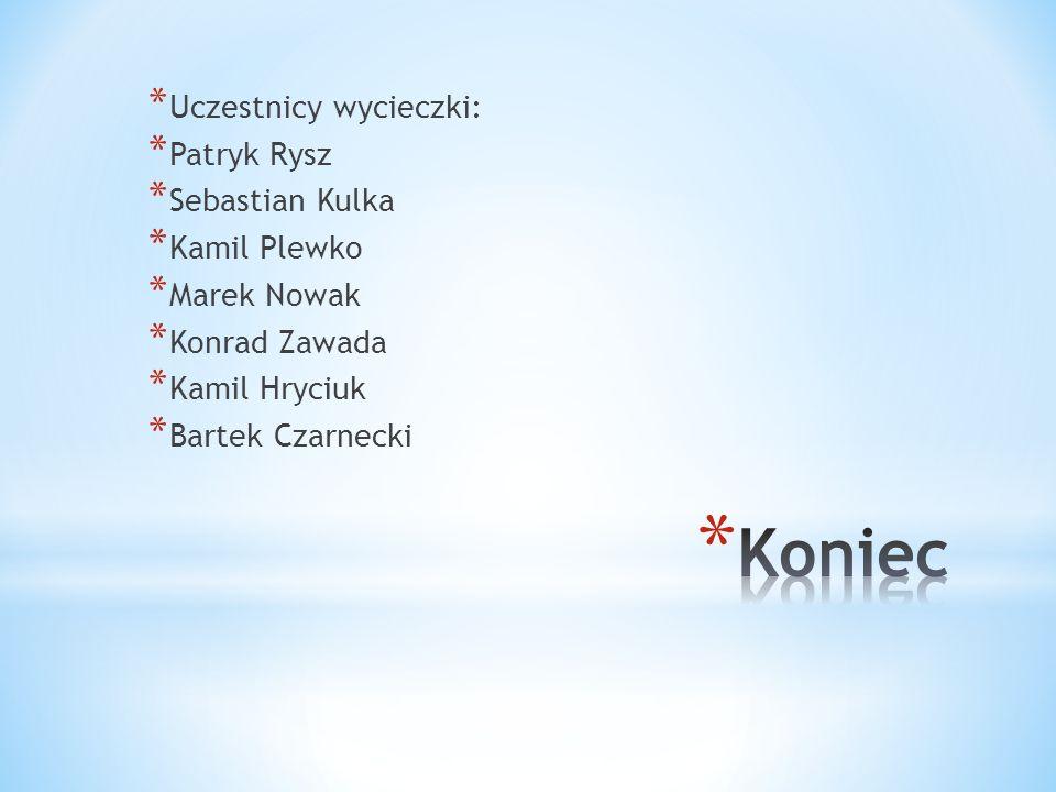 * Uczestnicy wycieczki: * Patryk Rysz * Sebastian Kulka * Kamil Plewko * Marek Nowak * Konrad Zawada * Kamil Hryciuk * Bartek Czarnecki