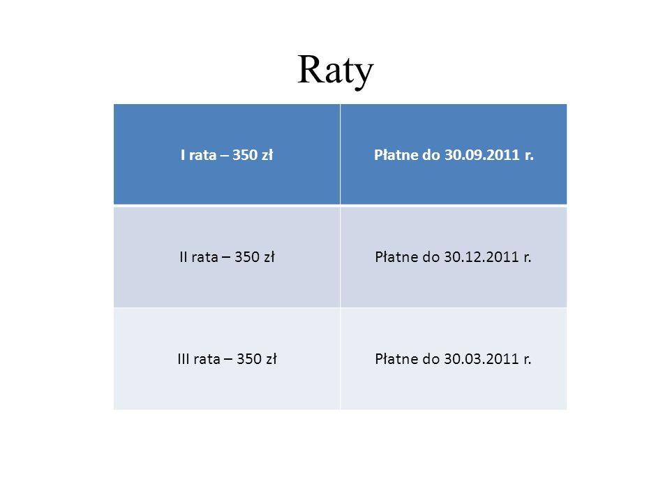 Raty I rata – 350 złPłatne do 30.09.2011 r. II rata – 350 złPłatne do 30.12.2011 r. III rata – 350 złPłatne do 30.03.2011 r.
