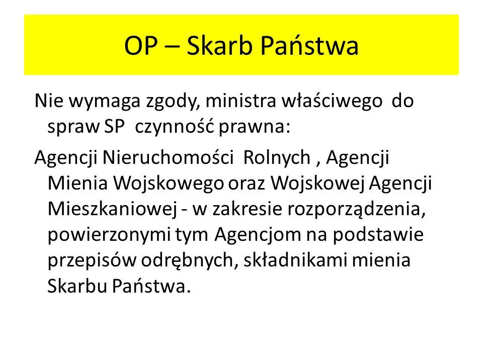 Nie wymaga zgody, ministra właściwego do spraw SP czynność prawna: Agencji Nieruchomości Rolnych, Agencji Mienia Wojskowego oraz Wojskowej Agencji Mie