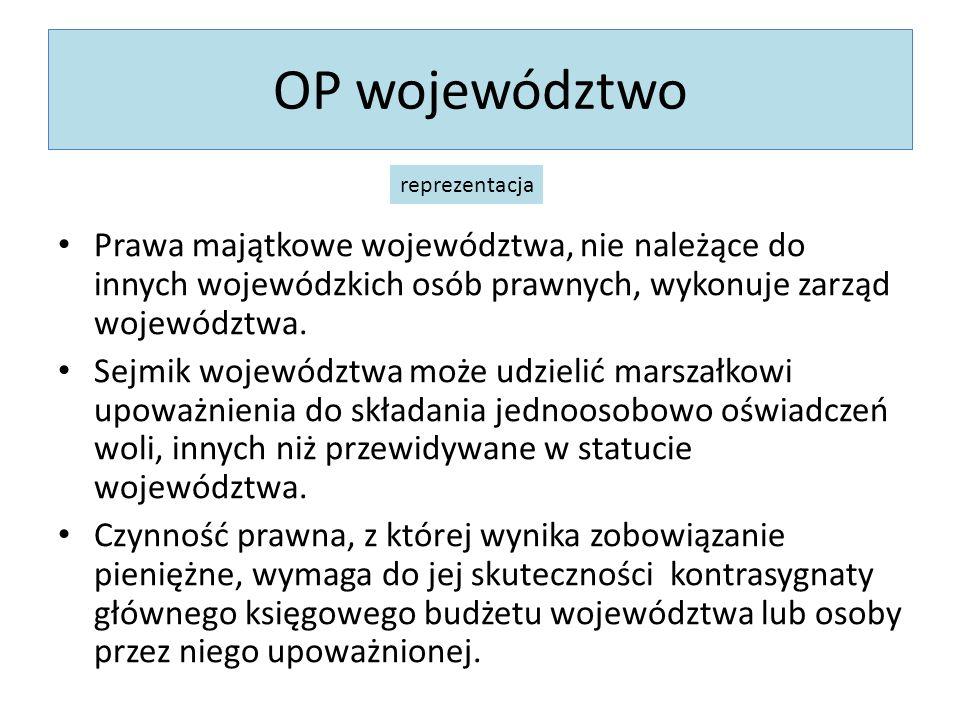 OP województwo Prawa majątkowe województwa, nie należące do innych wojewódzkich osób prawnych, wykonuje zarząd województwa. Sejmik województwa może ud