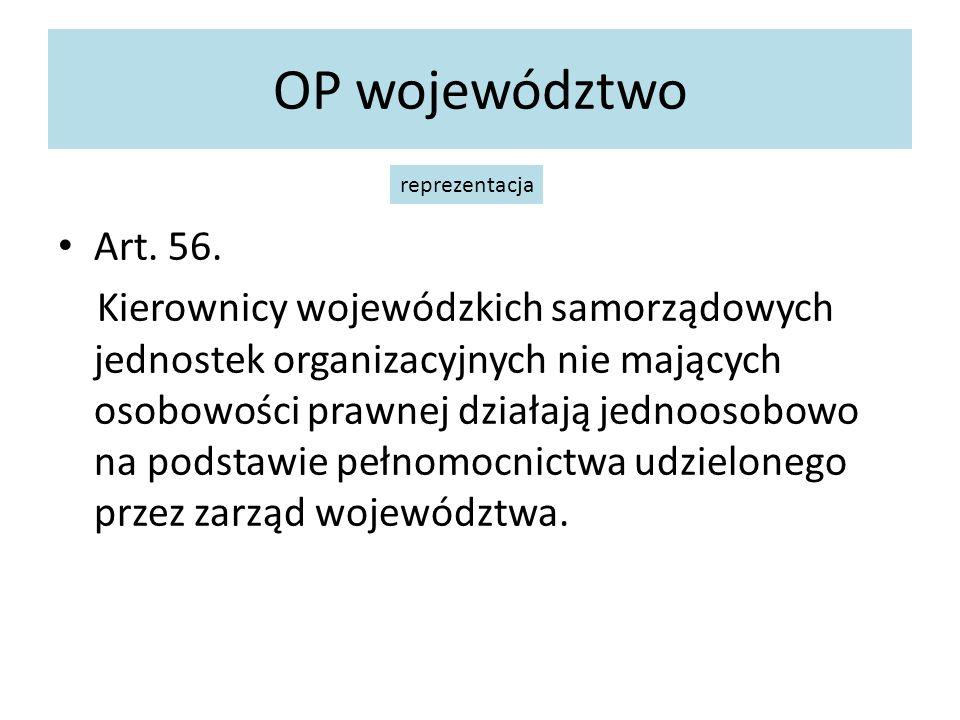 OP województwo Art. 56. Kierownicy wojewódzkich samorządowych jednostek organizacyjnych nie mających osobowości prawnej działają jednoosobowo na podst
