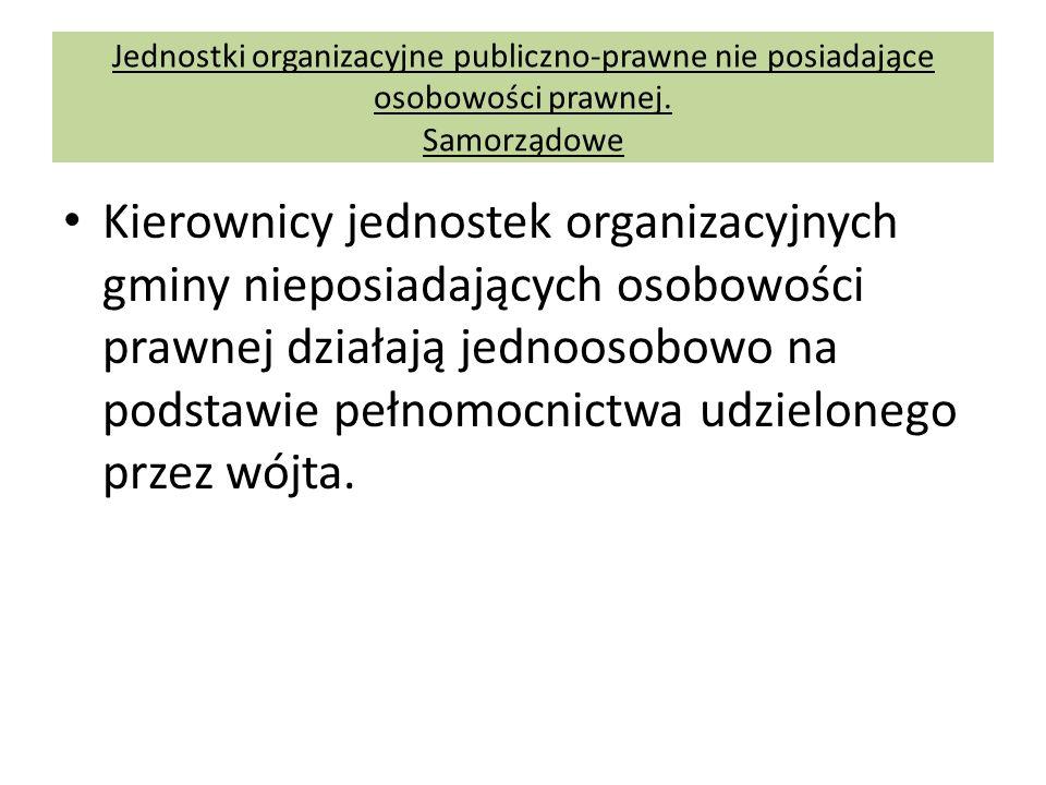 Jednostki organizacyjne publiczno-prawne nie posiadające osobowości prawnej. Samorządowe Kierownicy jednostek organizacyjnych gminy nieposiadających o