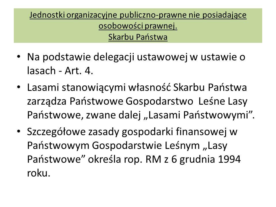 Na podstawie delegacji ustawowej w ustawie o lasach - Art. 4. Lasami stanowiącymi własność Skarbu Państwa zarządza Państwowe Gospodarstwo Leśne Lasy P