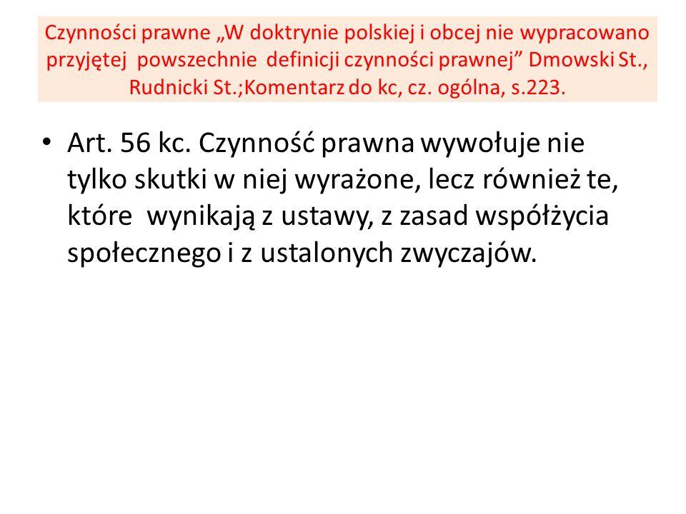 Czynności prawne W doktrynie polskiej i obcej nie wypracowano przyjętej powszechnie definicji czynności prawnej Dmowski St., Rudnicki St.;Komentarz do