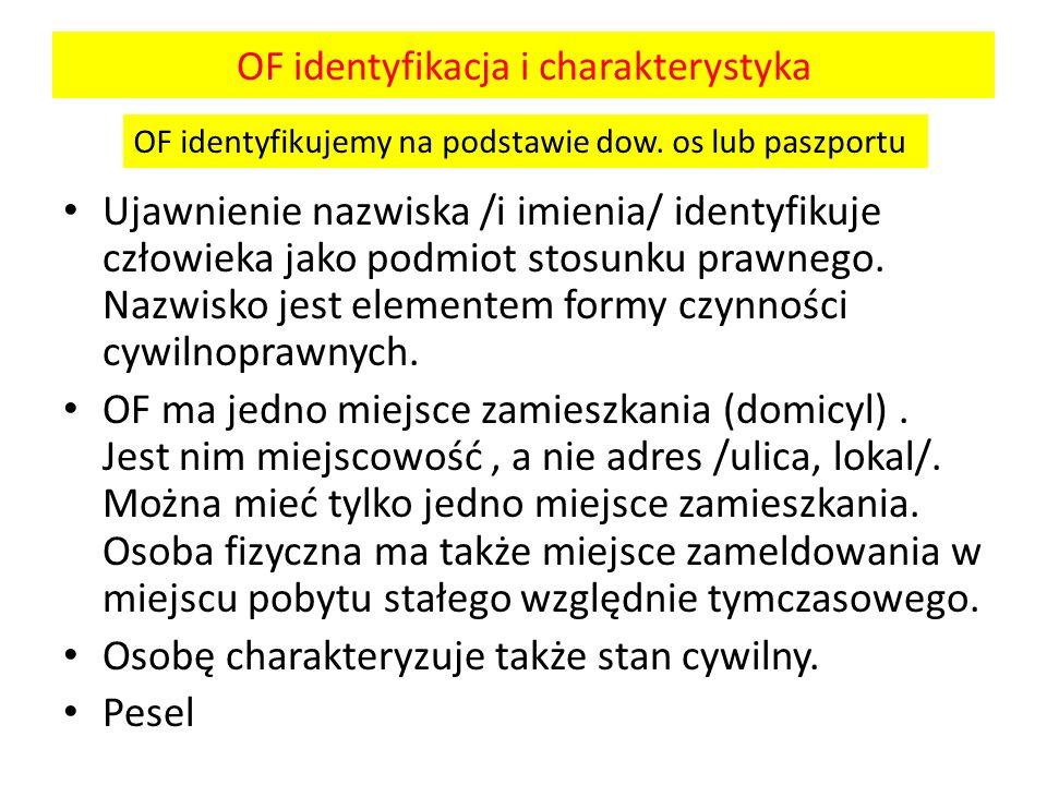 OF identyfikacja i charakterystyka Ujawnienie nazwiska /i imienia/ identyfikuje człowieka jako podmiot stosunku prawnego. Nazwisko jest elementem form