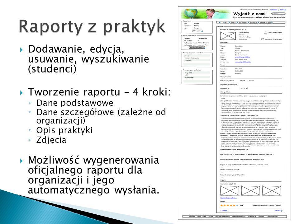 Dodawanie, edycja, usuwanie, wyszukiwanie (studenci) Tworzenie raportu – 4 kroki: Dane podstawowe Dane szczegółowe (zależne od organizacji) Opis prakt