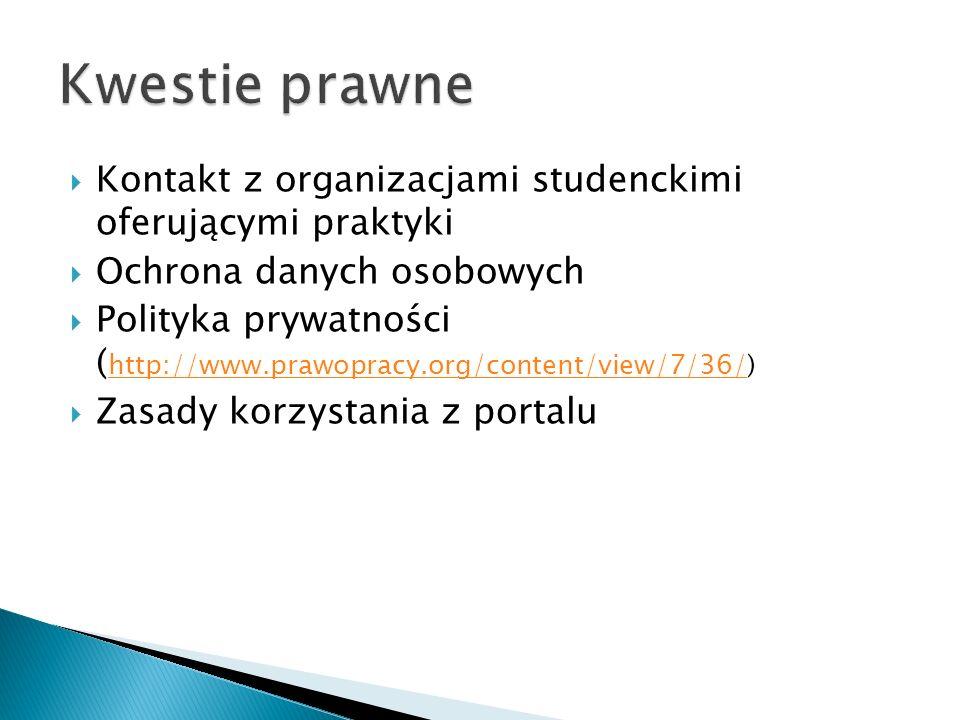 Kontakt z organizacjami studenckimi oferującymi praktyki Ochrona danych osobowych Polityka prywatności ( http://www.prawopracy.org/content/view/7/36/) http://www.prawopracy.org/content/view/7/36/ Zasady korzystania z portalu
