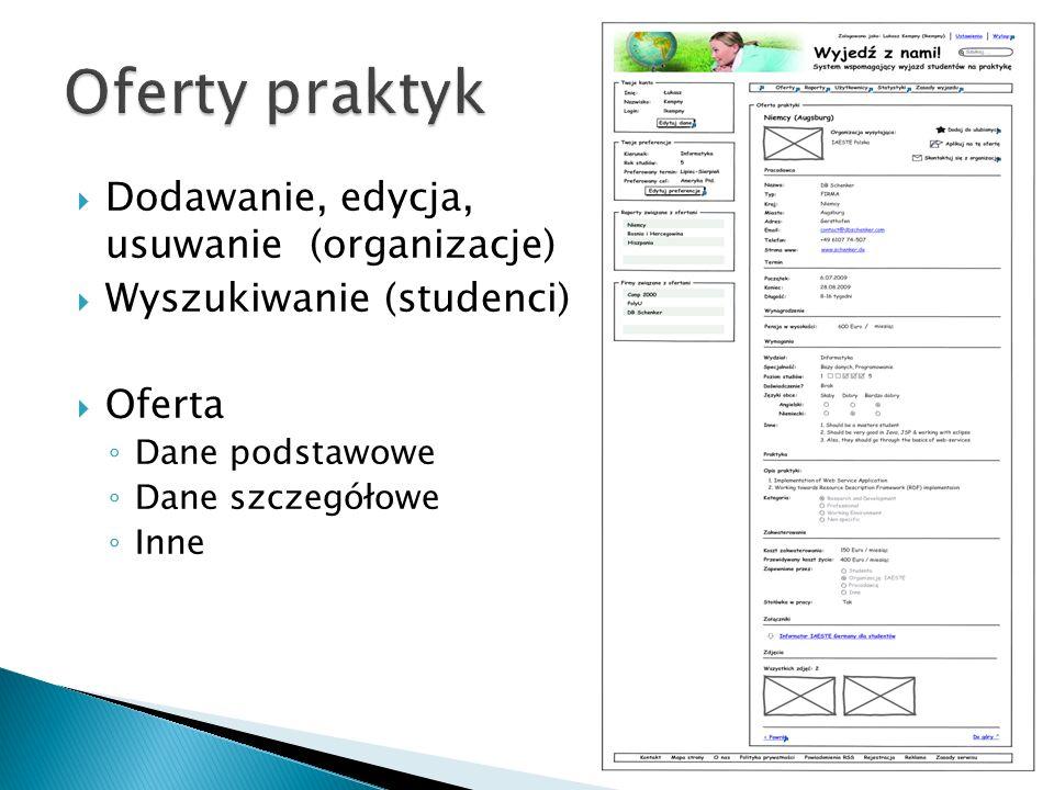 Dodawanie, edycja, usuwanie (organizacje) Wyszukiwanie (studenci) Oferta Dane podstawowe Dane szczegółowe Inne