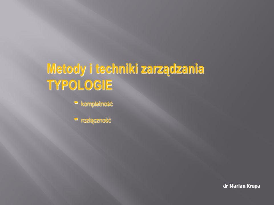 dr Marian Krupa Metody i techniki zarządzania TYPOLOGIE - kompletność - rozłączność