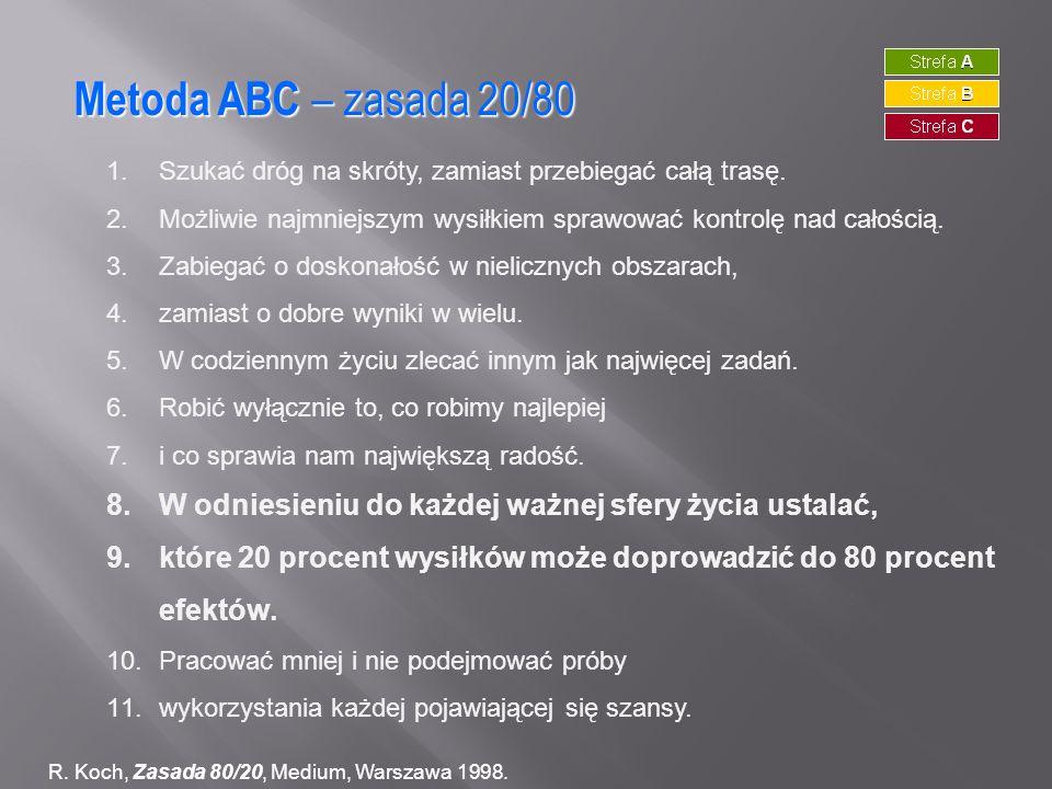 Metoda ABC – zasada 20/80 R. Koch, Zasada 80/20, Medium, Warszawa 1998. 1.Szukać dróg na skróty, zamiast przebiegać całą trasę. 2.Możliwie najmniejszy