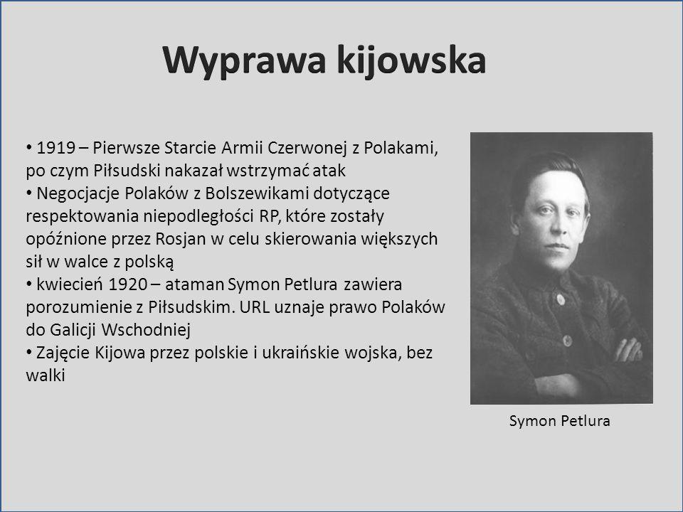 Symon Petlura 1919 – Pierwsze Starcie Armii Czerwonej z Polakami, po czym Piłsudski nakazał wstrzymać atak Negocjacje Polaków z Bolszewikami dotyczące