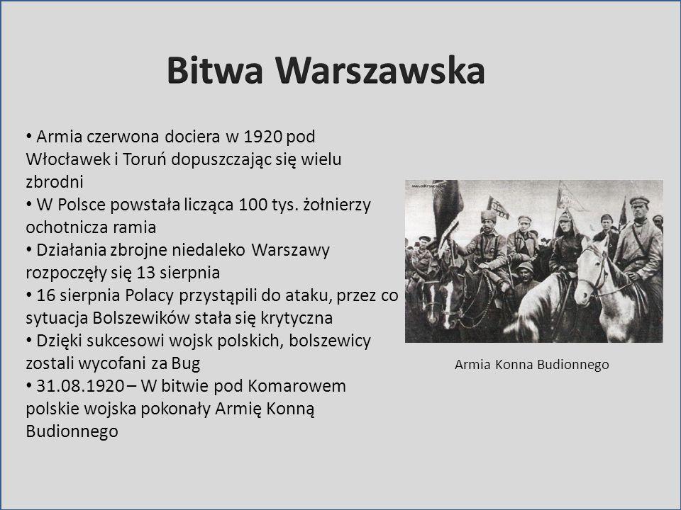 Armia czerwona dociera w 1920 pod Włocławek i Toruń dopuszczając się wielu zbrodni W Polsce powstała licząca 100 tys. żołnierzy ochotnicza ramia Dział