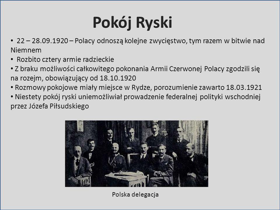 22 – 28.09.1920 – Polacy odnoszą kolejne zwycięstwo, tym razem w bitwie nad Niemnem Rozbito cztery armie radzieckie Z braku możliwości całkowitego pok