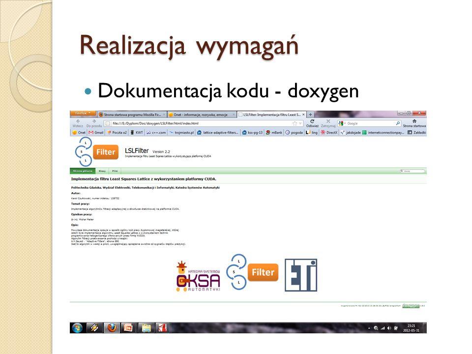 Realizacja wymagań Dokumentacja kodu - doxygen