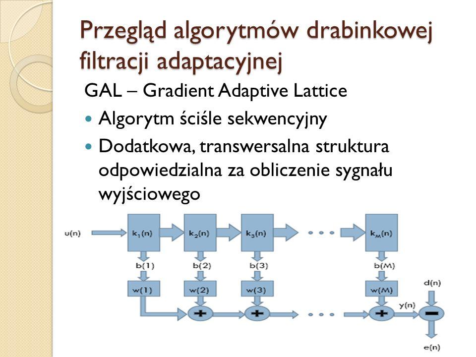Przegląd algorytmów drabinkowej filtracji adaptacyjnej GAL – Gradient Adaptive Lattice Algorytm ściśle sekwencyjny Dodatkowa, transwersalna struktura