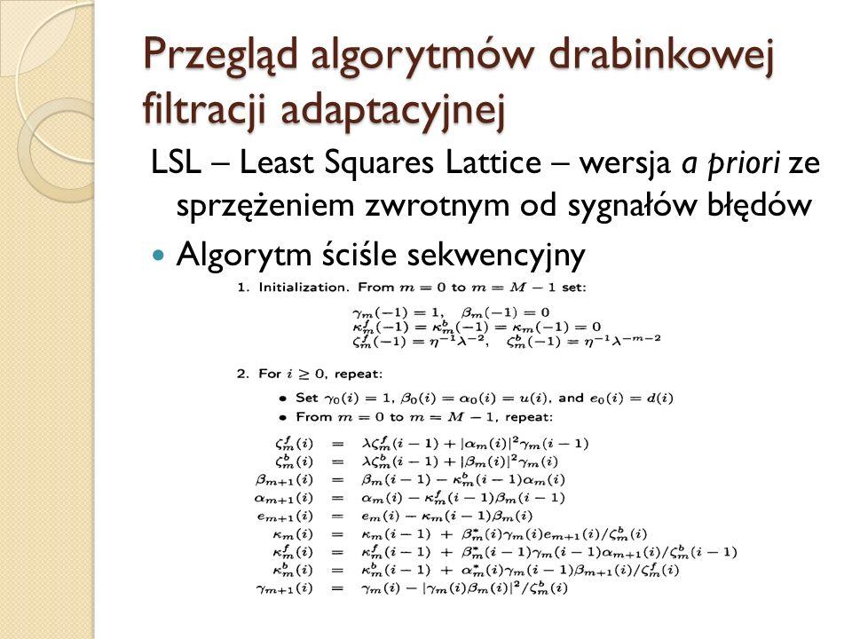 Przegląd algorytmów drabinkowej filtracji adaptacyjnej LSL – Least Squares Lattice – wersja a priori ze sprzężeniem zwrotnym od sygnałów błędów Algory