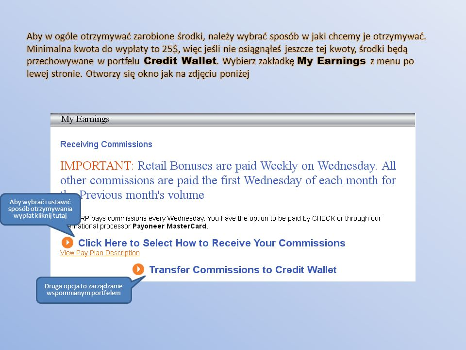 Aby wybrać i ustawić sposób otrzymywania wypłat kliknij tutaj Druga opcja to zarządzanie wspomnianym portfelem