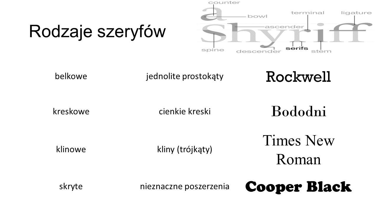 Rodzaje szeryfów belkowejednolite prostokąty Rockwell kreskowecienkie kreski Bododni klinowekliny (trójkąty) Times New Roman skrytenieznaczne poszerze