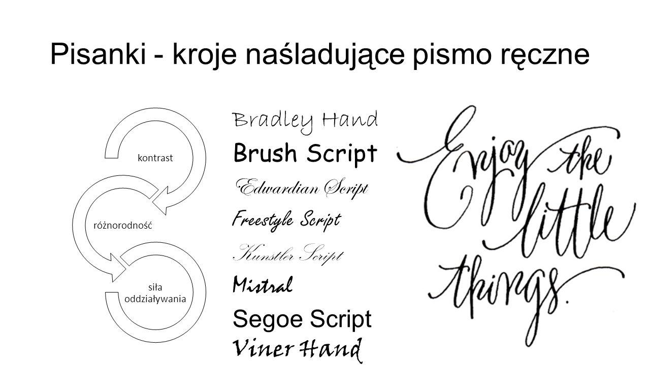 Pisanki - kroje naśladujące pismo ręczne kontrast różnorodność siła oddziaływania Bradley Hand Brush Script Edwardian Script Freestyle Script Kunstler