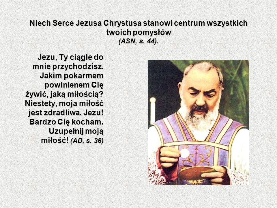 Niech Serce Jezusa Chrystusa stanowi centrum wszystkich twoich pomysłów (ASN, s. 44). Jezu, Ty ciągle do mnie przychodzisz. Jakim pokarmem powinienem