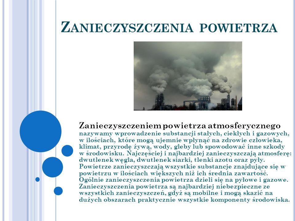 Z ANIECZYSZCZENIA POWIETRZA Zanieczyszczeniem powietrza atmosferycznego nazywamy wprowadzenie substancji stałych, ciekłych i gazowych, w ilościach, kt
