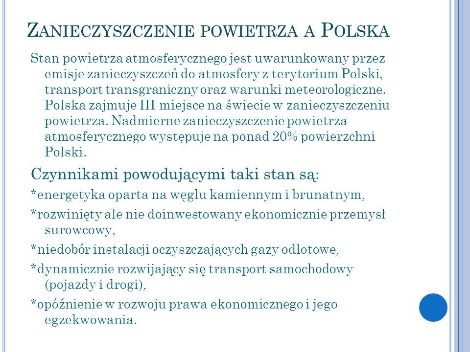 Z ANIECZYSZCZENIE POWIETRZA A P OLSKA Stan powietrza atmosferycznego jest uwarunkowany przez emisje zanieczyszczeń do atmosfery z terytorium Polski, t