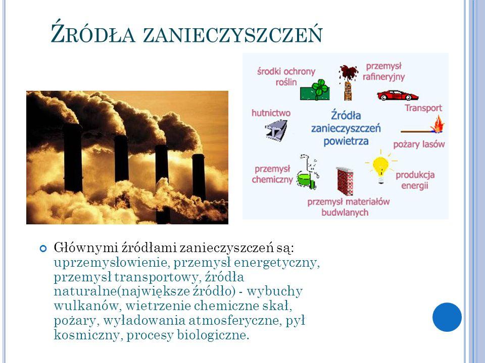 Ź RÓDŁA ZANIECZYSZCZEŃ Głównymi źródłami zanieczyszczeń są: uprzemysłowienie, przemysł energetyczny, przemysł transportowy, źródła naturalne(największ