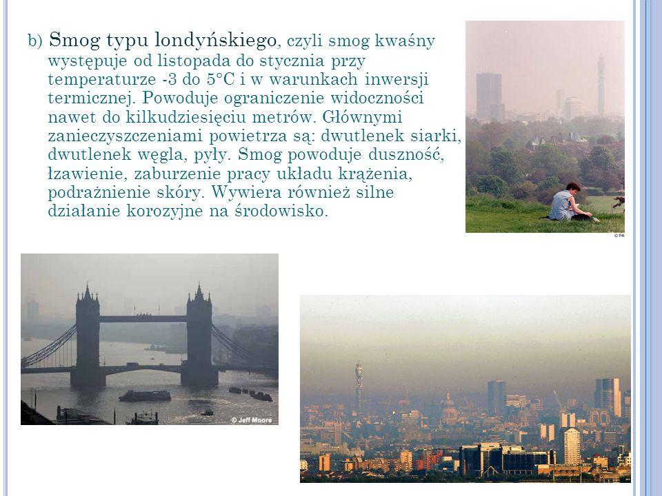 b) Smog typu londyńskiego, czyli smog kwaśny występuje od listopada do stycznia przy temperaturze -3 do 5°C i w warunkach inwersji termicznej. Powoduj
