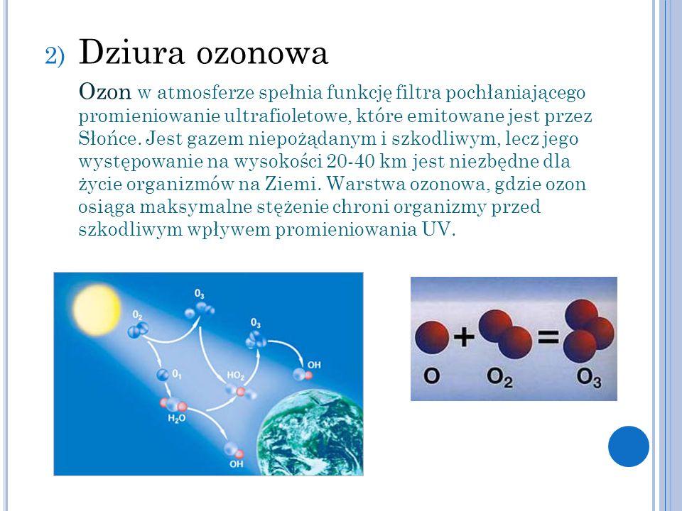 2) Dziura ozonowa Ozon w atmosferze spełnia funkcję filtra pochłaniającego promieniowanie ultrafioletowe, które emitowane jest przez Słońce. Jest gaze