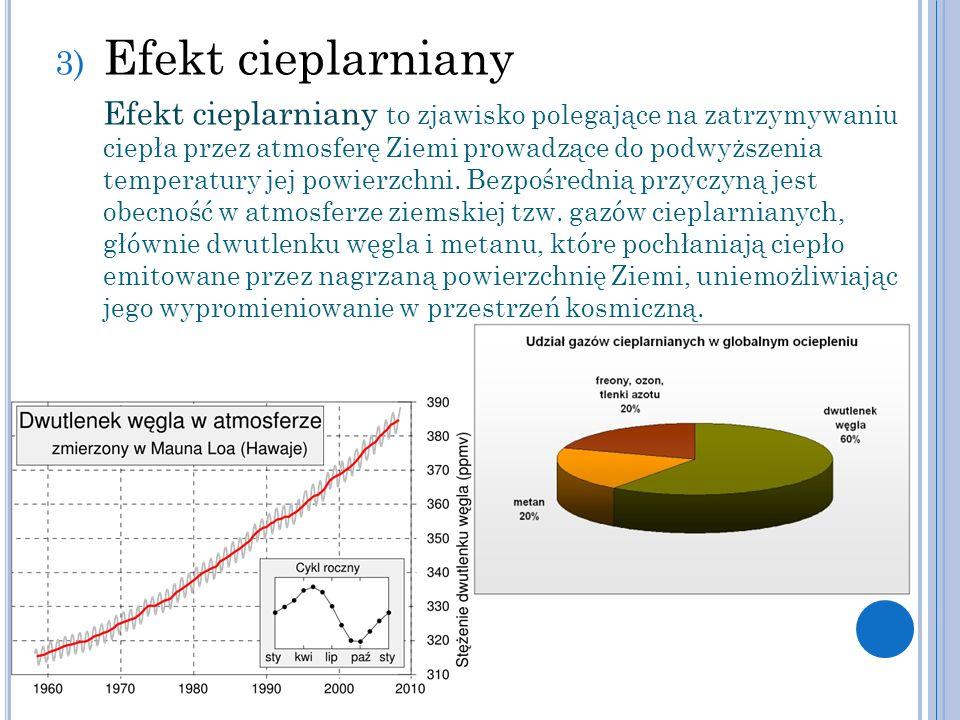 3) Efekt cieplarniany Efekt cieplarniany to zjawisko polegające na zatrzymywaniu ciepła przez atmosferę Ziemi prowadzące do podwyższenia temperatury j