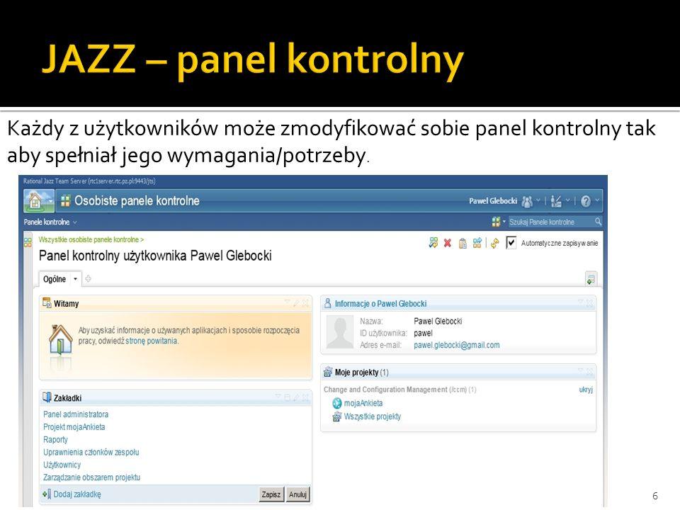 6 Każdy z użytkowników może zmodyfikować sobie panel kontrolny tak aby spełniał jego wymagania/potrzeby.