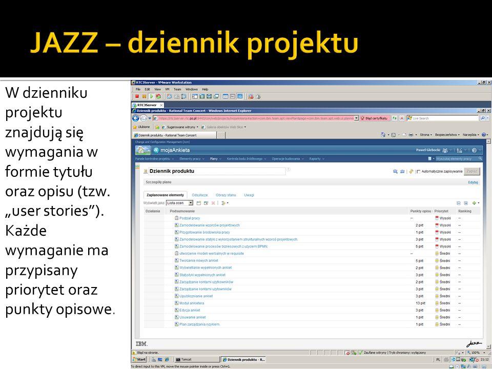 7 W dzienniku projektu znajdują się wymagania w formie tytułu oraz opisu (tzw.