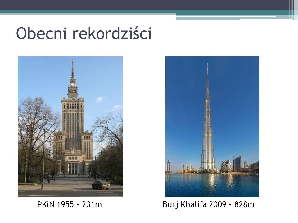Obecni rekordziści PKiN 1955 – 231mBurj Khalifa 2009 – 828m