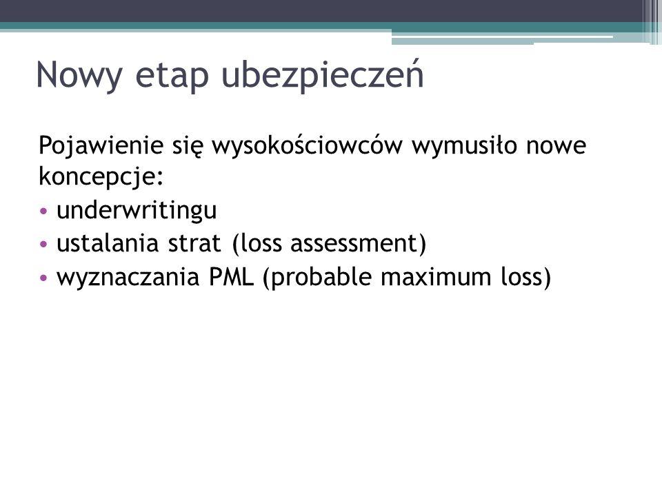 Nowy etap ubezpieczeń Pojawienie się wysokościowców wymusiło nowe koncepcje: underwritingu ustalania strat (loss assessment) wyznaczania PML (probable