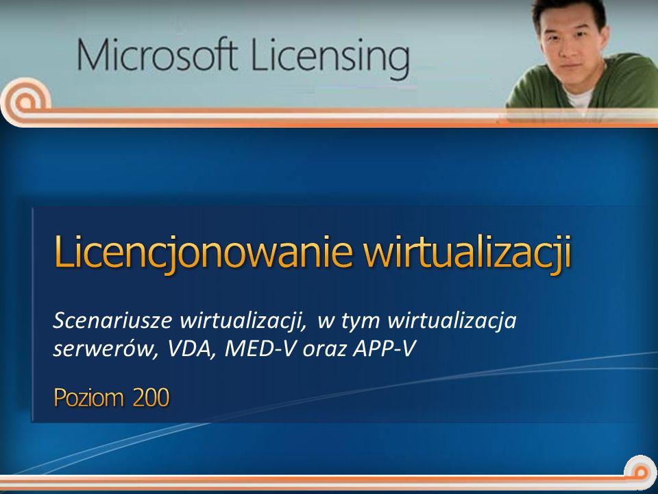 Scenariusze wirtualizacji, w tym wirtualizacja serwerów, VDA, MED-V oraz APP-V