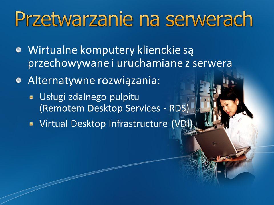 Wirtualne komputery klienckie są przechowywane i uruchamiane z serwera Alternatywne rozwiązania: Usługi zdalnego pulpitu (Remotem Desktop Services - R