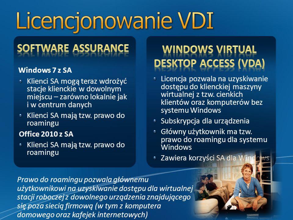 Windows 7 z SA Klienci SA mogą teraz wdrożyć stacje klienckie w dowolnym miejscu – zarówno lokalnie jak i w centrum danych Klienci SA mają tzw. prawo