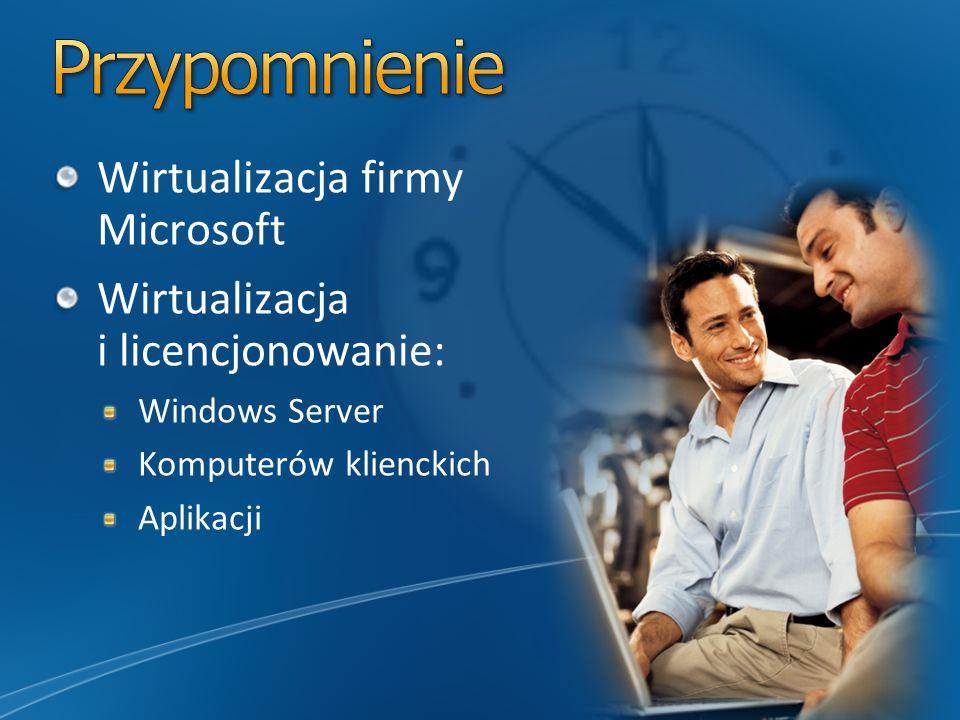 Wirtualizacja firmy Microsoft Wirtualizacja i licencjonowanie: Windows Server Komputerów klienckich Aplikacji