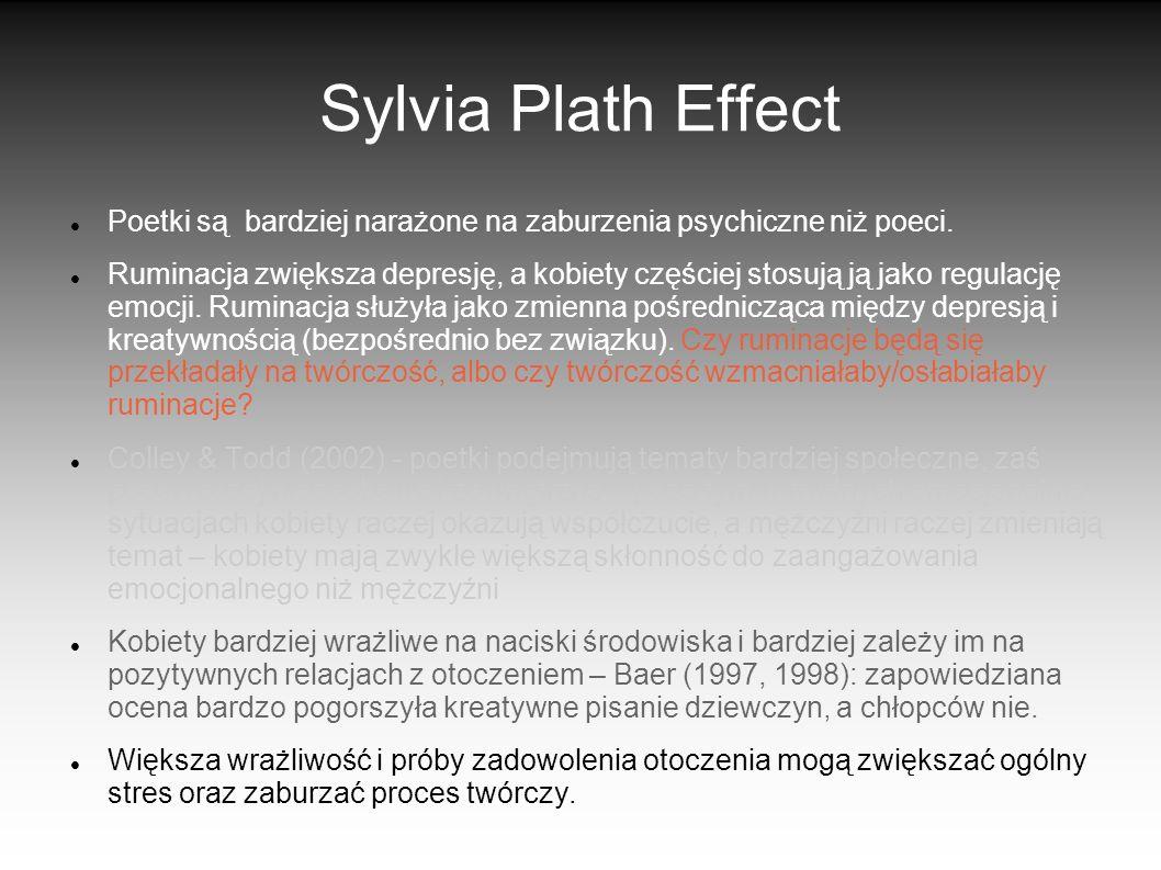 Sylvia Plath Effect Poetki są bardziej narażone na zaburzenia psychiczne niż poeci. Ruminacja zwiększa depresję, a kobiety częściej stosują ją jako re