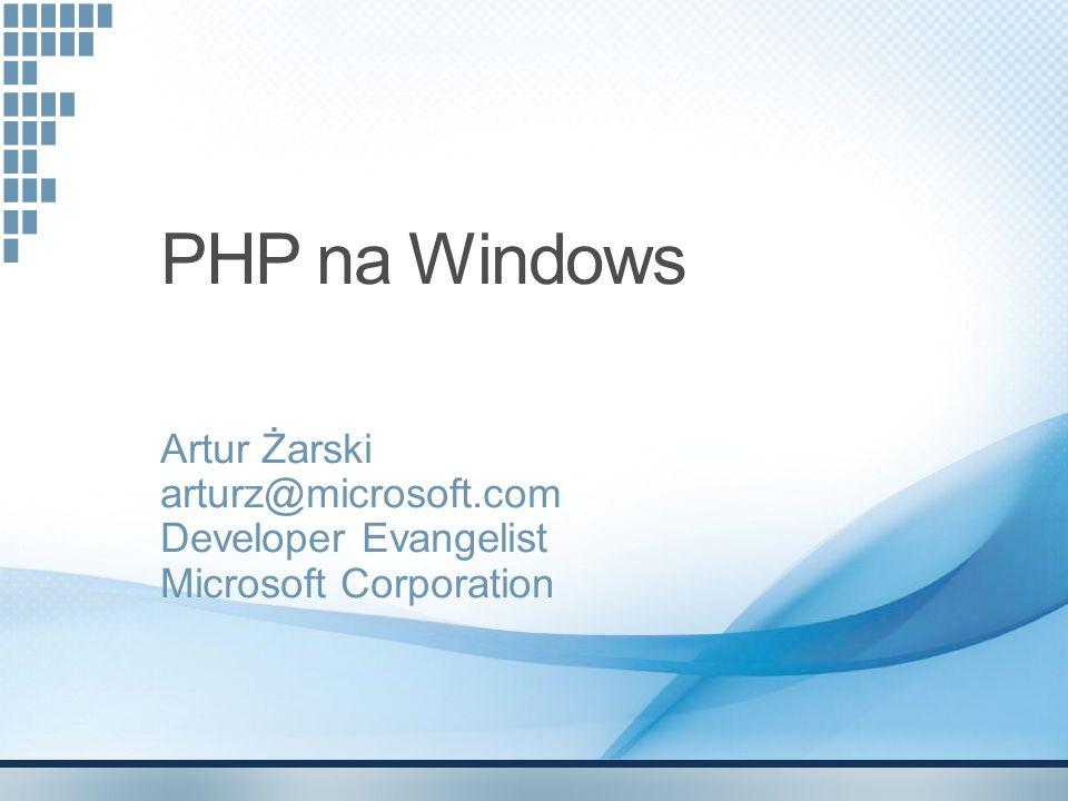 Plan spotkania IIS7 jako platforma PHP na Windows SQL Server Driver for PHP Expression Web 2 Inne możliwości współdziałania