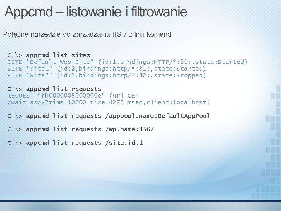 C:\> appcmd list sites SITE