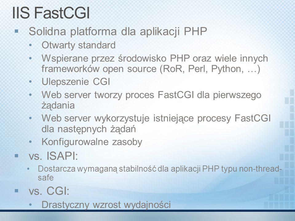 IIS FastCGI Solidna platforma dla aplikacji PHP Otwarty standard Wspierane przez środowisko PHP oraz wiele innych frameworków open source (RoR, Perl,