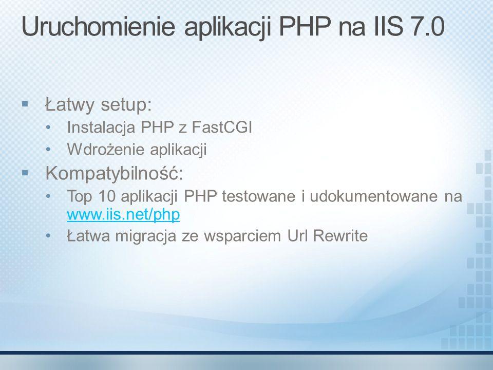 Uruchomienie aplikacji PHP na IIS 7.0 Łatwy setup: Instalacja PHP z FastCGI Wdrożenie aplikacji Kompatybilność: Top 10 aplikacji PHP testowane i udoku