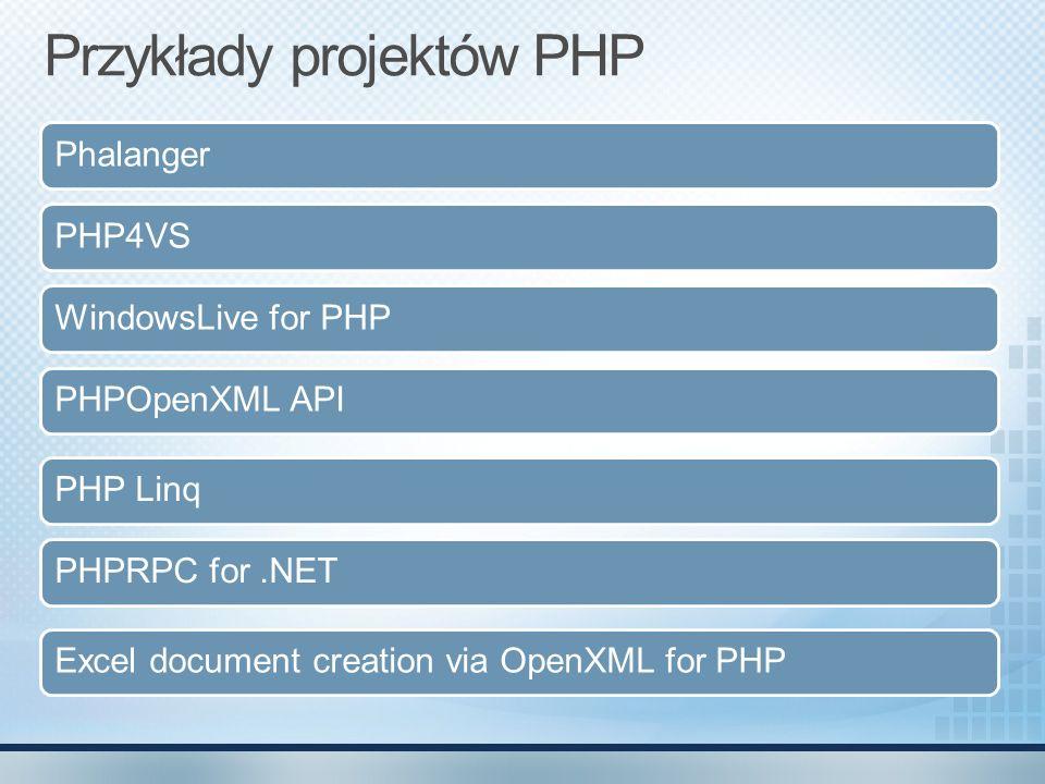 Najważniejsze elementy ADOdb Pierwszy projekt Open Source, w którym MS brał udział SQL Server PHP Driver SQL Server Driver for PHP został stworzony aby umożliwić współpracę PHP z SQL Server IIS7+ FastCGI Podstawa PHP na Windows Expression Web 2.0 Wsparcie narzędzi MS do pracy z PHP