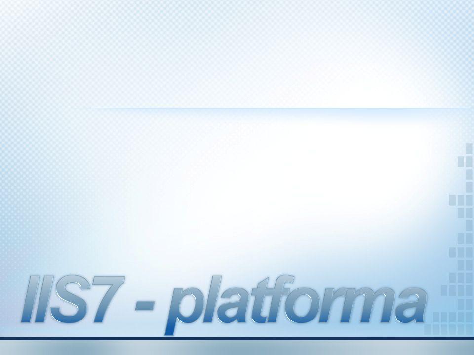 Zalety IIS 7.0 Modularna architektura aby zredukować możliwość ataku Konfiguracja systemu oparta na XML Możliwość zdalnego zarządzania Zaawansowana diagnostyka Integracja z WMS oraz Media Pack Możliwość rozszerzenia IIS7 przy użyciu kodu zarządzanego