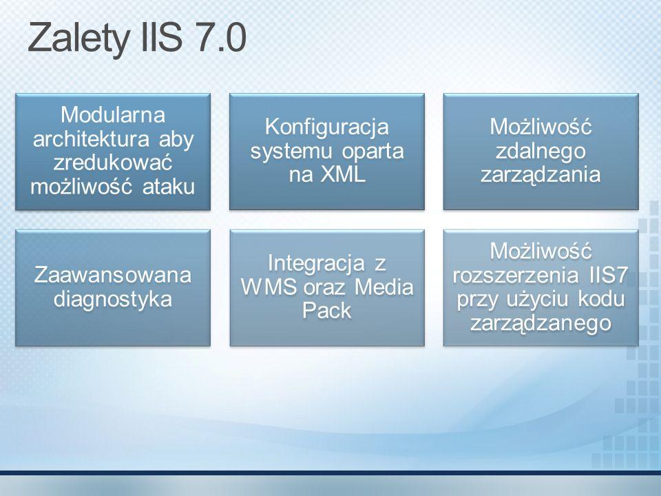 Zalety IIS 7.0 Modularna architektura aby zredukować możliwość ataku Konfiguracja systemu oparta na XML Możliwość zdalnego zarządzania Zaawansowana di