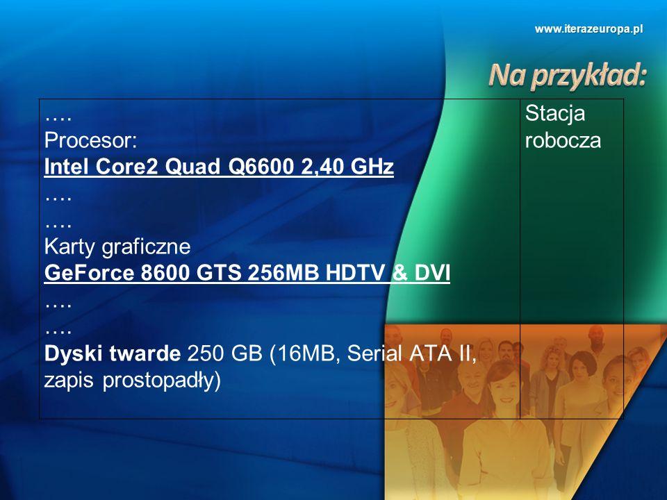 www.iterazeuropa.pl …. Procesor: Intel Core2 Quad Q6600 2,40 GHz …. Karty graficzne GeForce 8600 GTS 256MB HDTV & DVI …. Dyski twarde 250 GB (16MB, Se
